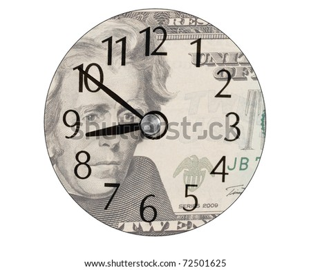 clock face on a US twenty dollar bill