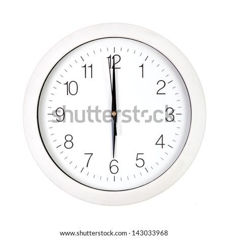 Clock Face Showing 12 O'clock Clock Face Showing Six O'clock