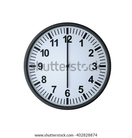 Clock face showing six o'clock , isolated on white , 3d rendering - stock photo