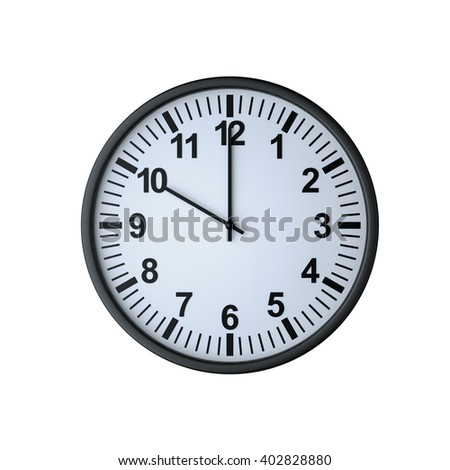 Clock face showing ten o'clock , isolated on white , 3d rendering - stock photo