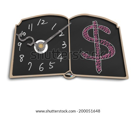 Clock face with money symbol doodles on blackboard in white background - stock photo