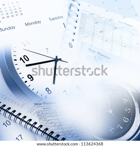 Clock faces, calendar and diary pages - stock photo