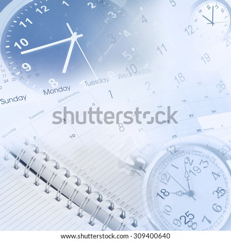 Clock faces, calendars and diary - stock photo