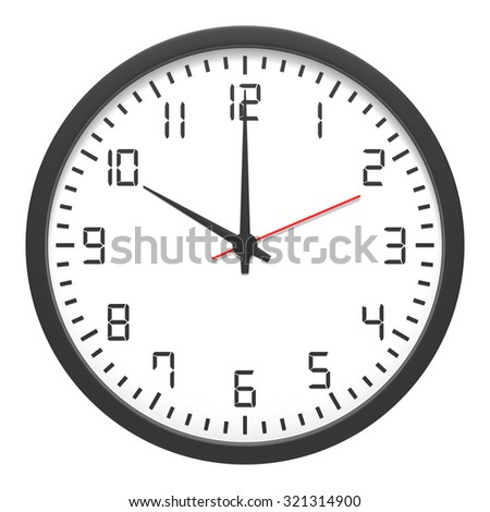 Clock front view isolated on white background - stock photo