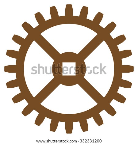 Clock Gear glyph icon. Style is flat symbol, brown color, rounded angles, white background. - stock photo