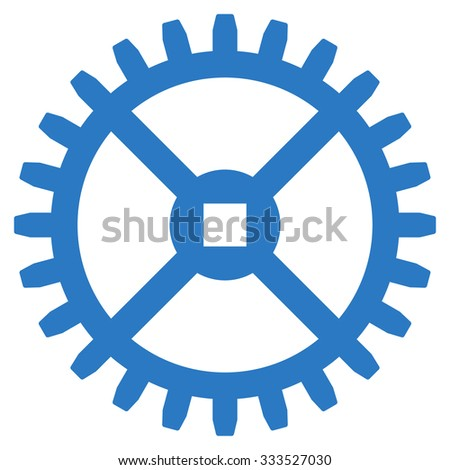 Clock Gear glyph icon. Style is flat symbol, smooth blue color, rounded angles, white background. - stock photo