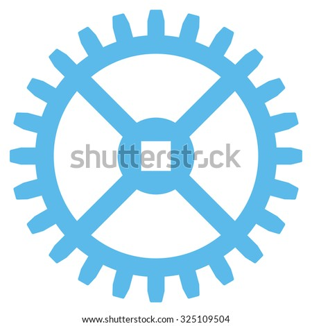 Clock Gear illustration icon. Style is flat symbol, blue color, rounded angles, white background. - stock photo