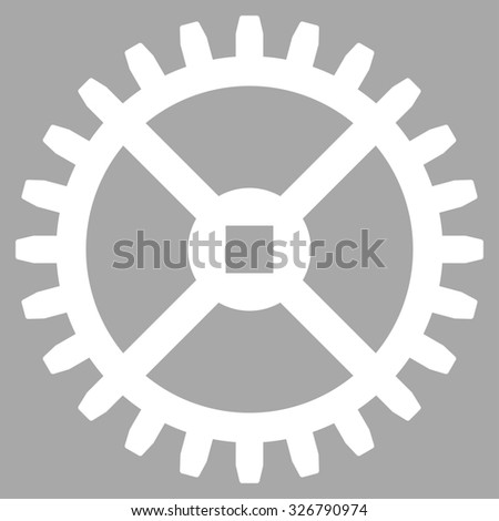 Clock Gear illustration icon. Style is flat symbol, white color, rounded angles, silver background. - stock photo