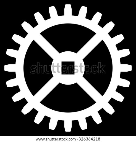 Clock Gear raster icon. Style is flat symbol, white color, rounded angles, black background. - stock photo