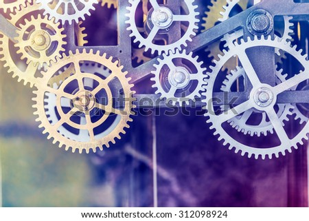 clock gear set Close up - stock photo