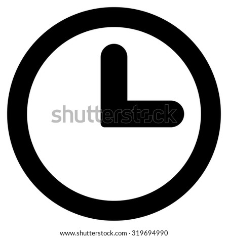 Clock icon from Primitive Set. This isolated flat symbol is drawn with black color on a white background, angles are rounded. - stock photo