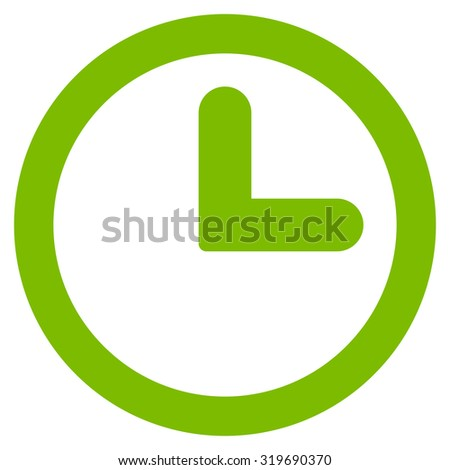 Clock icon from Primitive Set. This isolated flat symbol is drawn with eco green color on a white background, angles are rounded. - stock photo