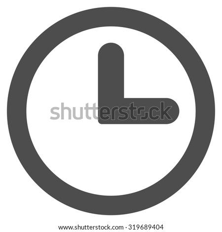 Clock icon from Primitive Set. This isolated flat symbol is drawn with gray color on a white background, angles are rounded. - stock photo