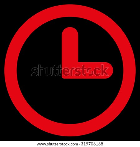 Clock icon from Primitive Set. This isolated flat symbol is drawn with red color on a black background, angles are rounded. - stock photo