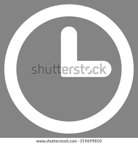 Clock icon from Primitive Set. This isolated flat symbol is drawn with white color on a gray background, angles are rounded. - stock photo
