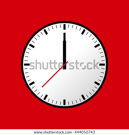 Clock icon, illustration, flat design. Red background. Raster copy of vector file.