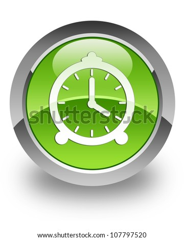 Clock icon on glossy green round button - stock photo