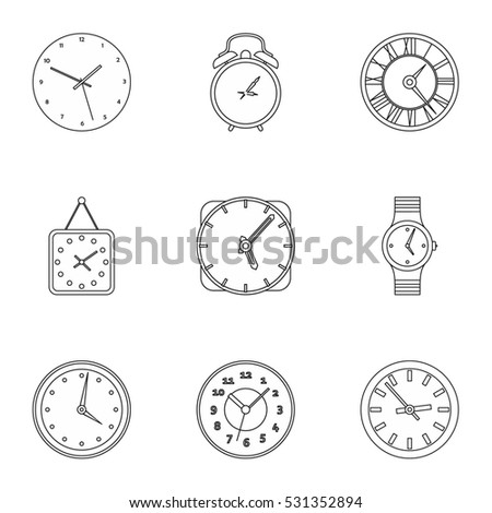 Clock icons set. Outline illustration of 9 clock  icons for web
