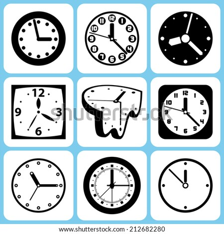 Clock icons set raster version - stock photo