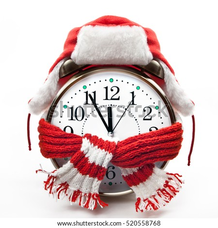 Clock in a fur hat and red scarf