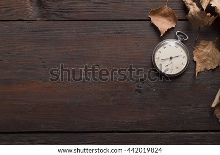 Clock in Autumn Leaves - stock photo