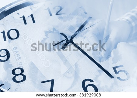 clock in blue tones - stock photo