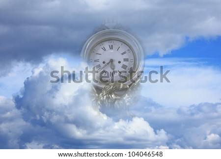 clock in clouds abstract of flying time - stock photo