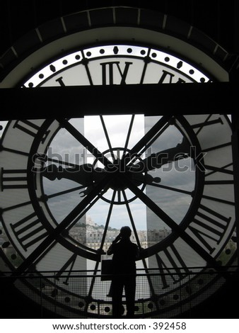 Clock in Musee D'Orsay, Paris. - stock photo