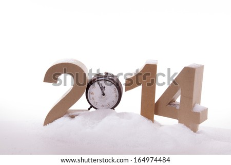 Clock in new years mood - stock photo
