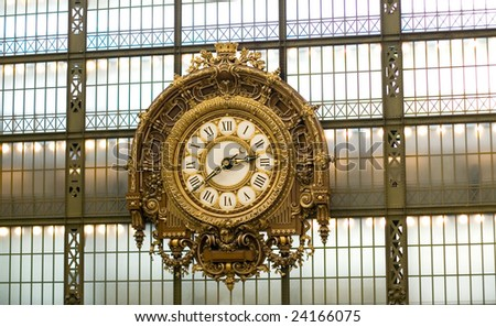 Clock in the Orsay museum, Paris, France - stock photo