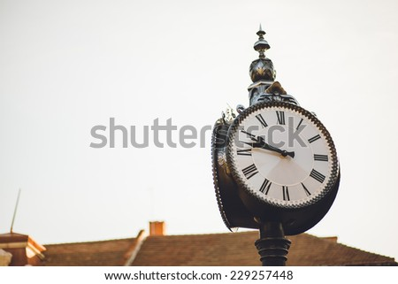 clock in the park - stock photo