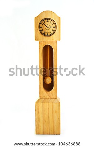 Clock made by wood for toy/wood clock - stock photo
