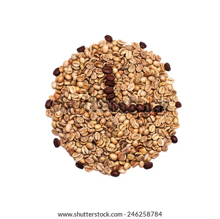 Clock, made from grean coffee beans with arrows, made from roasted coffee beans, showing quater past one, isolated on white