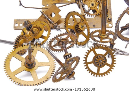 clock mechanism isolated on white - stock photo
