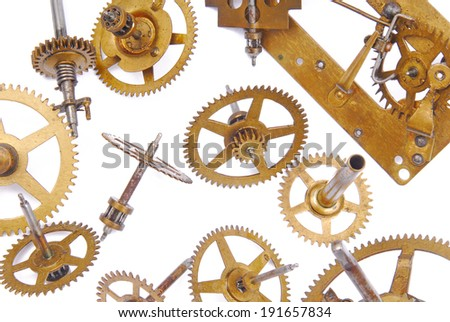 clock mechanism isolated on white - stock photo