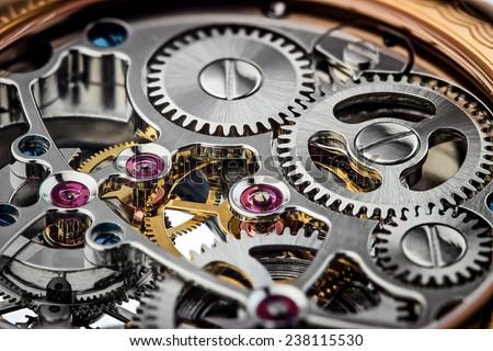 Clock mechanism macro shot  - stock photo