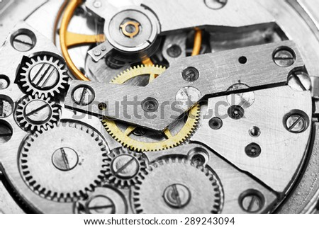 Clock mechanism with gears - stock photo