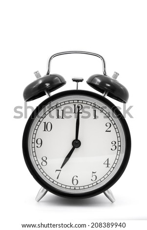 clock(7 o'clock) isolated on white background
