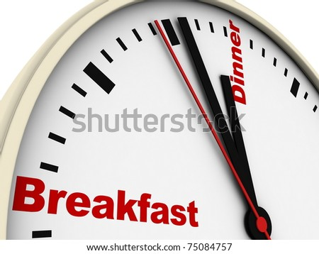 Clock of daily routine. Isolated on white. - stock photo