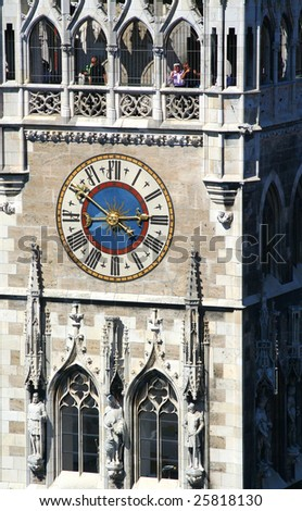 Clock of the town hall at the Marienplatz in Munich