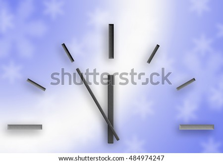 Clock on a blue background. Christmas. Blur