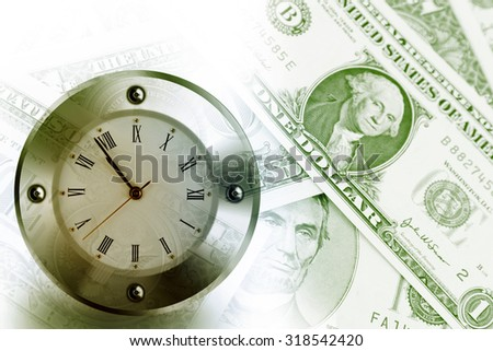 Clock on American banknotes - stock photo