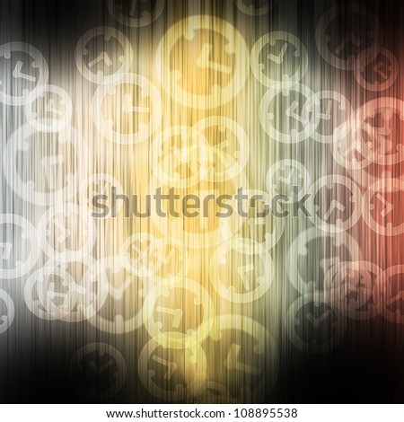 Clock on color wave abstract background