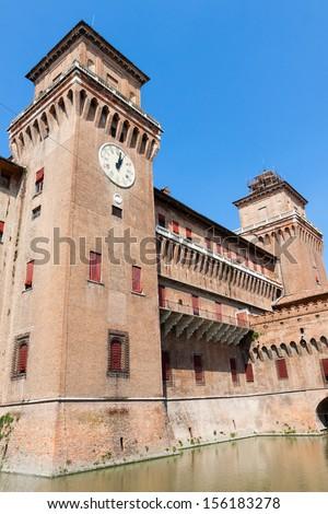 Clock on Estense Castle. Ferrara. Emilia-Romagna. Italy - stock photo