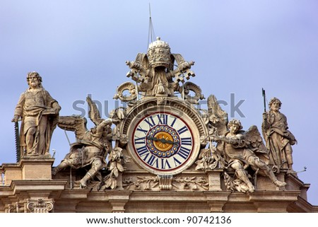 Clock on St Peters, Vatican City, Italy - Rome - stock photo