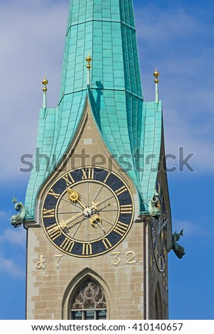 Clock on the St.Peter cathedral in Zurich, Switzerland, biggest mechanical clock of Europe.