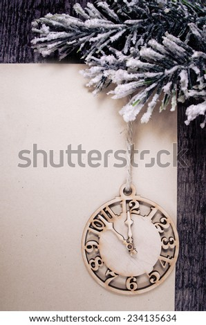 clock on the wooden background  - stock photo