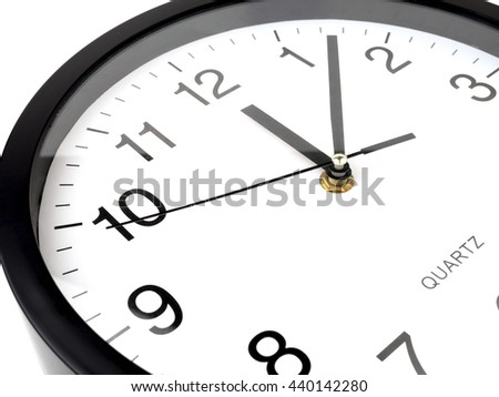 Clock or time abstract background, white clock and black needles, Twelve o'clock, seven minutes - stock photo