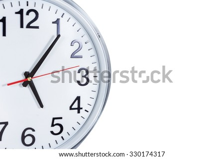 Clock or time abstract background. white clock with red and black needles with copy space.