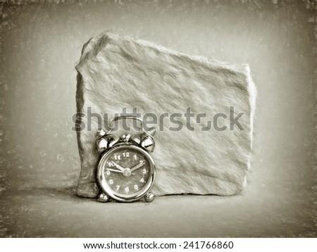 clock rock mono  - illustration based on own photo image - stock photo